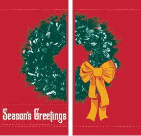 Seasons Greeting Wreath (Red) - Kalamazoo Banner Works
