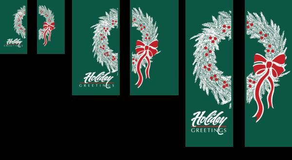 Double holiday Greetings Wreath - Kalamazoo Banner Works